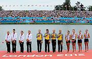 Eton Dorney, Windsor, Great Britain,..2012 London Olympic Regatta, Dorney Lake. Eton Rowing Centre, Berkshire[ Rowing]...LUT W4X Gold Medalist, GER W4X Silver medalist, USA W4X Bronze medalist.   Dorney Lake. 12:46:52  Wednesday  12:46:52   [Mandatory Credit: Peter Spurrier/Intersport Images].