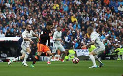April 29, 2017 - Madrid, Spain - MADRID, SPAIN. APRIL 29th, 2017 - Carlos Soler with the ball against Carvajal and Kroos. La Liga Santander matchday 35 game. Real Madrid defeated 2-1 Valencia with goals scored by Cristiano Ronaldo (26th minute) and Marcelo (86th minute). Parejo (82nd minute) scored for Valencia. Santiago Bernabeu Stadium. Photo by Antonio Pozo | PHOTO MEDIA EXPRESS (Credit Image: © Antonio Pozo/VW Pics via ZUMA Wire/ZUMAPRESS.com)