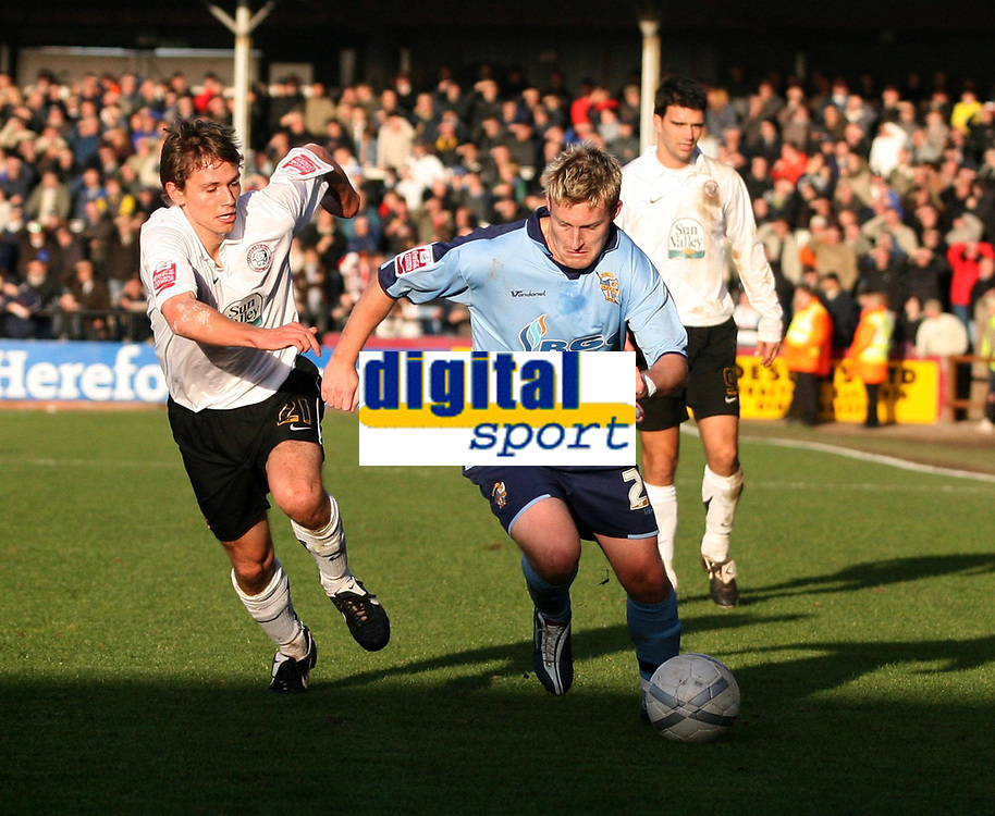 Photo:Mark Stephenson,Hereford united v Port vale.<br />fa cup 2-11-2006.Vales Ross Gardener on the attack from Hereforeds Luck Webb.