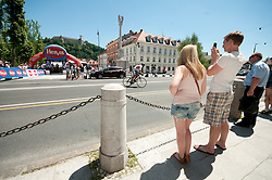 Visitors during chronometer (17,8km) of Tour de Slovenie 2012, on June 17 2012, in Ljubljana, Slovenia. (Photo by Urban Urbanc / Sportida.com)