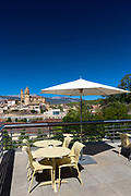 Patio and view at Hotel Marques de Riscal Bodega designed by architect Frank O Gehry, at Elciego in Rioja-Alavesa, Spain