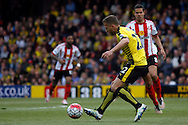 Almen Abdi of Watford in action during the game. Barclays Premier league match, Watford v Sunderland at Vicarage Road in Watford, London on Sunday 15th May 2016.<br /> pic by Steffan Bowen, Andrew Orchard sports photography.