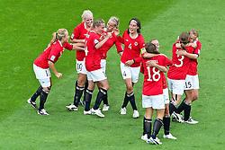 06-07-2011 VOETBAL: FIFA WOMENS WORLDCUP 2011 AUSTRALIA - NORWAY: LEVERKUSEN<br /> Jubel nach dem 0:1 durch Elise Thorsnes (Norgwegen) (4L) <br /> ***NETHERLANDS ONLY***<br /> ©2011-FRH- NPH/Mueller