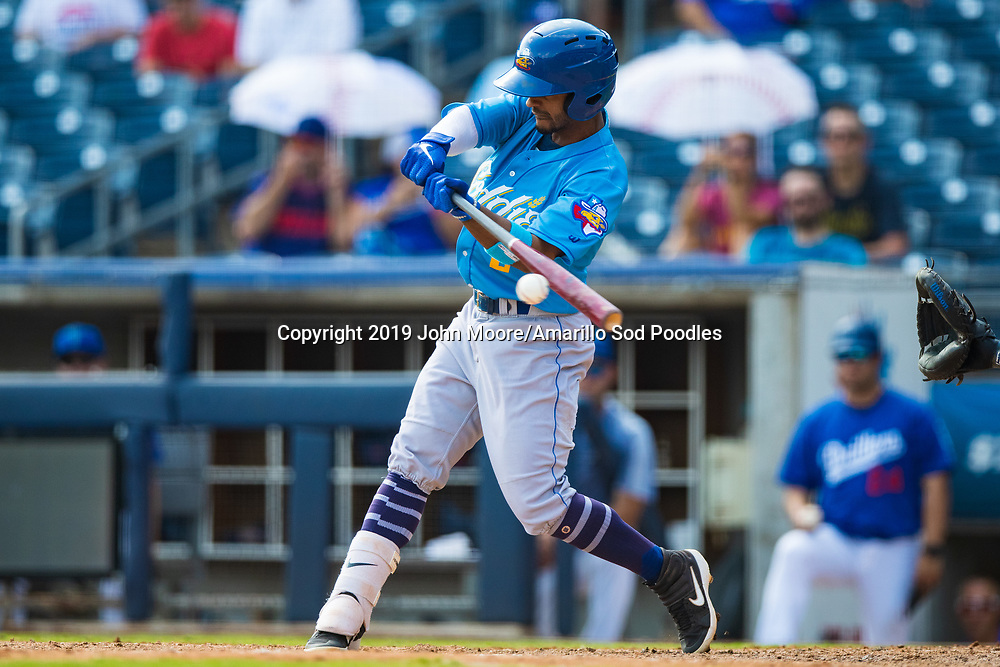 Amarillo Sod Poodles infielder Ivan Castillo (2) hits the ball against the Tulsa Drillers during the Texas League Championship on Sunday, Sept. 15, 2019, at OneOK Field in Tulsa, Oklahoma. [Photo by John Moore/Amarillo Sod Poodles]