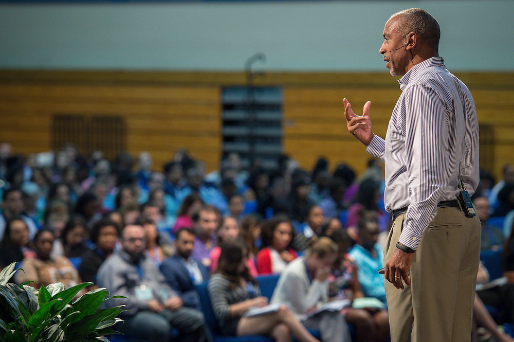 Dr. Pedro Noguera addresses the New Teacher Academy held at Kingdom Builders, July 28, 2014.