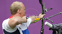 Paralympics London 2012 - ParalympicsGB - Archery Mens Individual Recurve - Standing  30th August 2012<br />   <br /> Kenny Allen, competing in the mens Archery Individual Recurve Heats - Standing at the Paralympic Games in London. Photo: Richard Washbrooke/ParalympicsGB