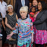 London,England,UK, 25th May 2017. British actress Barbara Windsor unveils plaque as theatre launches walk of fame celebrating East London's cultural legacy with plaques also dedicated to Frank Matcham and Oswald Stoll at Hackney Empire,London.UK. by See Li
