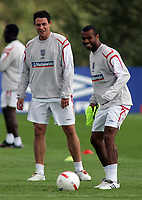 Photo: Paul Thomas.<br /> England Training Session. 01/09/2006.<br /> <br /> John Terry (L), Wayne Bridge and Ashley Cole (R).