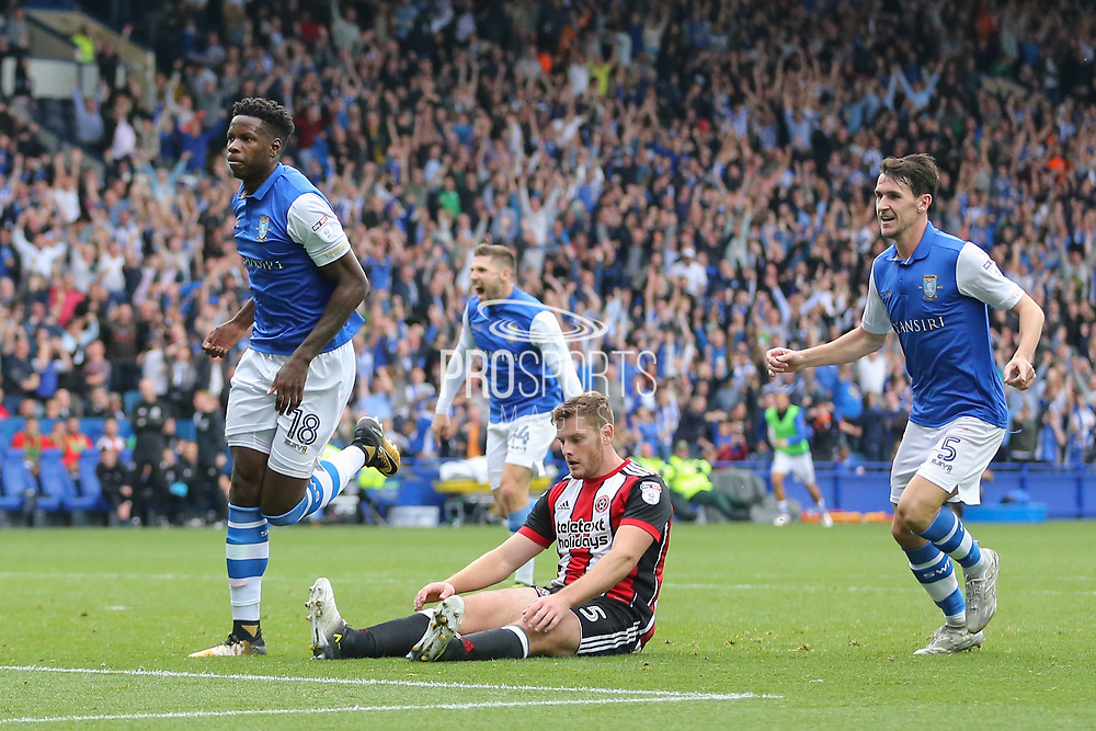 Sheffield Wednesday forward Lucas Joao (18) celebrates his equaliser goal 2-2 with Sheffield Wednesday midfielder Kieran Lee (5) during the EFL Sky Bet Championship match between Sheffield Wednesday and Sheffield Utd at Hillsborough, Sheffield, England on 24 September 2017. Photo by Phil Duncan.