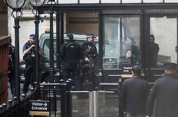 © Licensed to London News Pictures. 13/02/2018. London, UK. Extra armed police on guard at the scene at Parliament where it is being reported that an incident is ongoing involving a suspect package.  Photo credit: Ben Cawthra/LNP