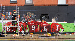 LIVERPOOL, ENGLAND - Thursday, August 27, 2020: A new street art mural of Liverpool FC players Steven Gerrard, Jamie Carragher, Robbie Fowler, Virgil van Dijk and Kenny Dalglish. The mural was created by Murwalls on the side of the Arc Hotel near Liverpool FC's Anfield Stadium. (Pic by Propaganda)