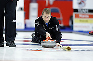 Jeff Stoughton, skip on Jeff Stoughton's team throws his rock in the team's first draw Wednesday.  The 2011 GP Car and Home Players' Championship ran April 12-17 at the Crystal Centre, Grande Prairie, AB..11-04-13, Photo Randy Vanderveen, Grande Prairie, Alberta.