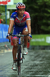 Simon Spilak of Slovenia (Lampre) at the end of 3rd stage of the 15th Tour de Slovenie from Skofja Loka to Krvavec (129,5 km), on June 13,2008, Slovenia. (Photo by Vid Ponikvar / Sportal Images)/ Sportida)