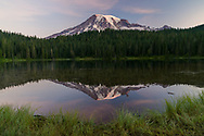 Sunrise view of Mt. Rainier from Reflection Lake