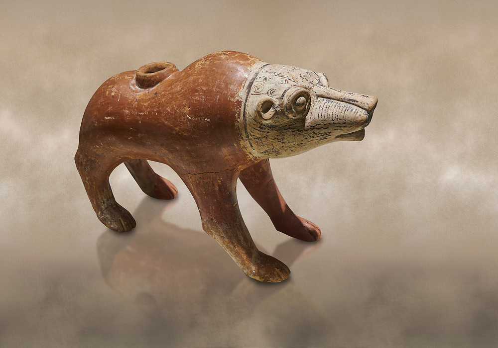 Bronze Age Anatolian terra cotta wolf shaped ritual vessel - 19th to 17th century BC - Kültepe Kanesh - Museum of Anatolian Civilisations, Ankara, Turkey.  Against a warn art background. .<br /> <br /> If you prefer to buy from our ALAMY PHOTO LIBRARY  Collection visit : https://www.alamy.com/portfolio/paul-williams-funkystock/kultepe-kanesh-pottery.html<br /> <br /> Visit our ANCIENT WORLD PHOTO COLLECTIONS for more photos to download or buy as wall art prints https://funkystock.photoshelter.com/gallery-collection/Ancient-World-Art-Antiquities-Historic-Sites-Pictures-Images-of/C00006u26yqSkDOM