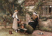 Youth and Age. Chromolithograph after painting by Myles Birkett Foster (1825-1899), English artist, published London 1866. Grandmother in lace cap seated in cottage garden with two grandchildren.  The girl uses watering can to water plant in pot. Kitten drinks from saucer on path.  Behind them is a rose-covered cottage with lattice casement windows.