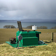 Skelmorlie nuclear bunker operated by the Royal Observer Corps from 1965-1991. The white drum would record the position of a nuclear blast on light-sensitive paper through a pinhole allowing its location to be triangulated. Ayrshire, Scotland.