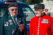 Rick Forest, 89 D-day, Reginald Widerspoon, 90 (L to R) - Second World War Veterans, Reg Wilderspin (89) and John Cuthbert (92), and serving Guardsmen on Horse Guards Parade Ground to highlight Royal British Legion events on Victory in Europe (VE) Day. The Legion is also announcing that veterans and their carers will receive funding towards attending the event on the weekend of the 8-10th May.<br /> <br /> Places will be available for a series of commemorative events over the weekend including on VE Day itself, Friday 8 May, when a Service of Remembrance will be held at The Cenotaph, with a national two minute silence at 3pm. On Sunday 10 May, there will a Service of Thanksgiving at 11am at Westminster Abbey attended by HM The Queen, followed by a parade from the Abbey to Horse Guards Parade and into St James's Park, where the Legion will host a lunch reception for the veterans.