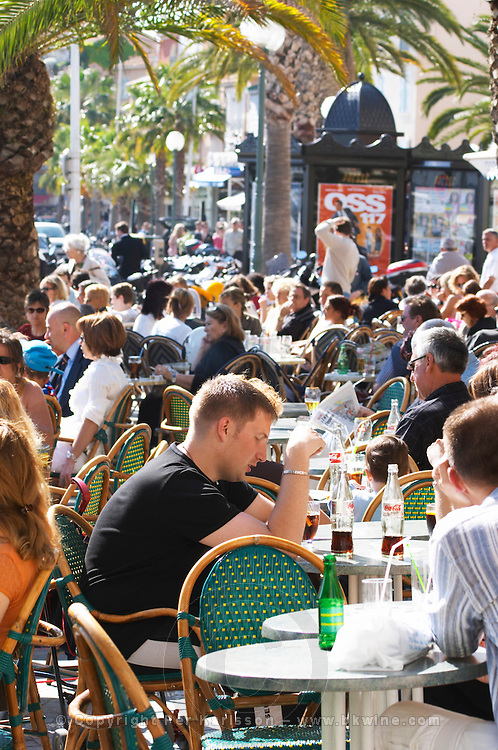 Cafe scene outdoor terrace in the old town Sanary Var Cote d'Azur France