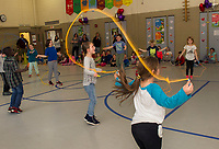 Elm Street School students jump fill the gym during the Jump Rope for Heart event Friday afternoon raising money for the American Heart Association.  (Karen Bobotas/for the Laconia Daily Sun)