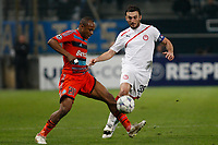 FOOTBALL - UEFA CHAMPIONS LEAGUE 2011/2012 - GROUP STAGE - GROUP F - OLYMPIQUE MARSEILLE v OLYMPIACOS - 23/11/2011 - PHOTO PHILIPPE LAURENSON / DPPI - ANDRE AYEW (OM) / VASILIOS TOROSIDIS (OLY)