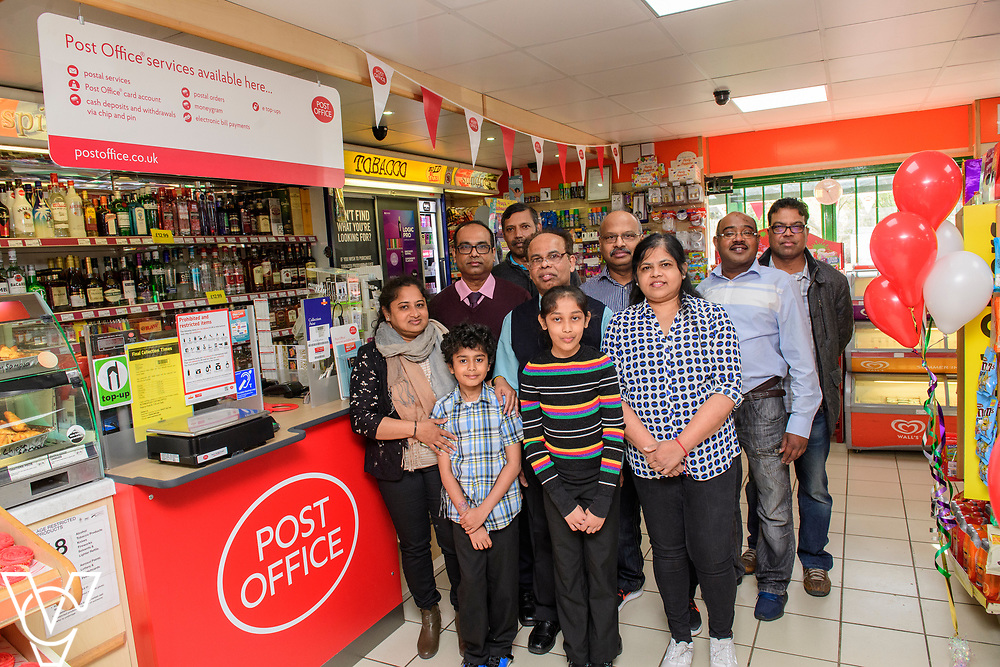 Pictured is Subramaniam Nithaharan and Subramaniam Nithythasan who run the new Matley Post Office with their friends, family and colleagues<br /> <br /> Shailesh Vara MP has cut the ribbon to official opening of the brand new Matley Post Office, part of the Londis Store, Matley, Orton Brimbles, Peterborough. The store is owned by Subramaniam Nithythasan and Subramaniam Nithaharan.<br /> <br /> Date: April 5, 2019