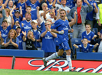 Adrian Mutu (Chelsea) celebrates his goal,but was dissallowed. Chelsea v Blackburn Rovers. 30/8/03. Credit : Colorsport/Andrew Cowie.