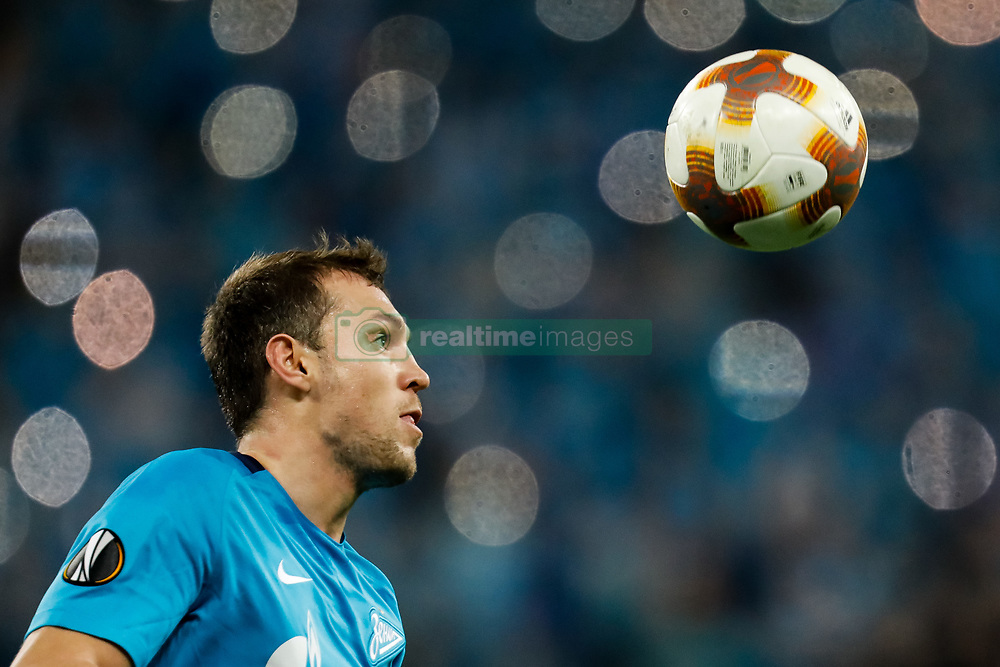 November 23, 2017 - Saint Petersburg, Russia - Artem Dzyuba of FC Zenit Saint Petersburg in action during the UEFA Europa League Group L match between FC Zenit St. Petersburg and FK Vardar at Saint Petersburg Stadium on November 23, 2017 in Saint Petersburg, Russia. (Credit Image: © Mike Kireev/NurPhoto via ZUMA Press)