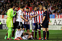 Atletico de Madrid´s Fernando Torres and Gabi protest referee Jaime Latre during 2014-15 La Liga match between Atletico de Madrid and Valencia CF at Vicente Calderon stadium in Madrid, Spain. March 08, 2015. (ALTERPHOTOS/Luis Fernandez)
