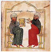 Miniature from Armenian Gospels (1391). Calligrapher, Aristakes: Artist, Tseroun. Portrait of patron of the manuscript and his son.