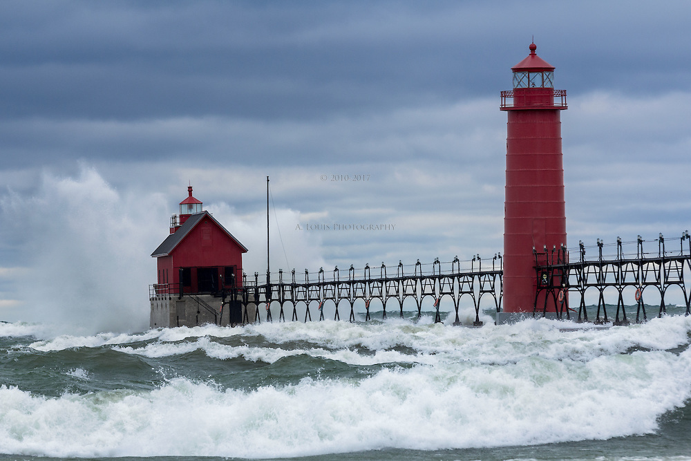 Gale force winds push 10+ foot waves ashore in Grand Haven, MI