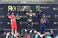 Rallycross<br /> 03.05.2015<br /> Foto: imago/Digitalsport<br /> NORWAY ONLY<br /> <br /> DTM 1.Rennen Hockenheim 2015, v.l. FIA Rallycross Championship, Supercar Final, 2.Platz Reinis Nitiss (LVA Ford Fieste ST), 1.Platz Petter Solberg (NOR Citroen DS3), 3.Platz Timmy Hansen (SWE Peugeot), Siegerherung