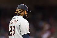 Prince Fielder (28) of the Detroit Tigers smiles during a game against the Minnesota Twins on August 14, 2012 at Target Field in Minneapolis, Minnesota.  The Tigers defeated the Twins 8 to 4.  Photo: Ben Krause