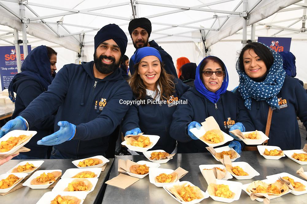 London, England, UK. 27 April 2019. Seva sikhism giving free food at Vaisakhi Festival is a Sikh New Year in Trafalgar Square, London, UK.