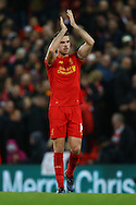 Jordan Henderson of Liverpool applauds the fans after the game. Premier League match, Liverpool v West Ham Utd at the Anfield stadium in Liverpool, Merseyside on Sunday 11th December 2016.<br /> pic by Chris Stading, Andrew Orchard sports photography.