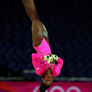 Gabrielle Douglas, USA, in action on the floor during the Women's Artistic Gymnastics podium training at North Greenwich Arena during the London 2012 Olympic games preparation at the London Olympics. London, UK. 26th July 2012. Photo Tim Clayton