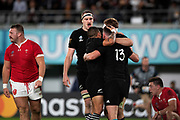 Ryan Crotty of New Zealand celebrates his try with his teammates during the Rugby World Cup bronze final match between New Zealand and Wales Friday, Nov, 1, 2019, in Tokyo. New Zealand defeated Wales 40-17.  (Flor Tan Jun/Espa-Images-Image of Sport)