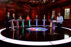 (left to right) Liberal Democrats leader Tim Farron, Labour leader Jeremy Corbyn, Green Party co-leader Caroline Lucas, Plaid Cymru leader Leanne Wood, Home Secretary Amber Rudd, Ukip leader Paul Nuttall and SNP deputy leader Angus Robertson take part in the BBC Election Debate hosted by BBC news presenter Mishal Husain, as it is broadcast live from Senate House, Cambridge.