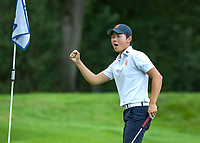 HILVERSUM - Jerry Ji (Neth) wint zijn partij na 19 holes., tegen Oostenrijk. Oranje eindigt als vijfde.     ELTK Golf 2020 The Dutch Golf Federation (NGF), The European Golf Federation (EGA) and the Hilversumsche Golf Club will organize Team European Championships for men.  COPYRIGHT KOEN SUYK