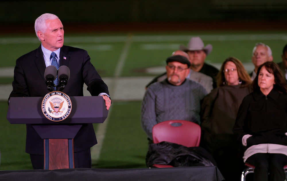 U.S. vice-president Mike Pence speaks at a prayer vigil for the victims in the First Baptist Church of Sutherland Springs shooting in Floresville, Texas, November 8, 2017.  REUTERS/Rick Wilking