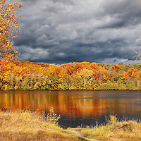 """""""Within Autumn's Grasp""""<br /> <br /> A Michigan landscape comes alive in autumn with vibrant foliage, colorful reflections on water, and stormy skies above!!<br /> <br /> Autumn Landscapes by Rachel Cohen"""
