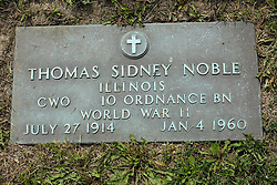 31 August 2017:   Veterans graves in Park Hill Cemetery in eastern McLean County.<br /> <br /> Thomas Sidney Noble  Illinois CWO  10 Ordnance BN  World War II  July 27 1914  Jan 4 1960