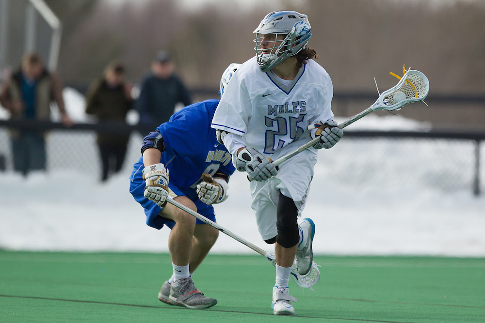 Colby College midfielder, Jeff Vaz, during the first half of a NCAA Division III men's lacrosse game against at Hamilton College on March 8, 2014 in Waterville, ME. (Dustin Satloff/Colby Athletics)