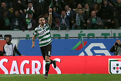 February 3, 2019 - Lisbon, Portugal - Sporting's midfielder Bruno Fernandes from Portugal celebrates after scoring a goal during the Portuguese League football match Sporting CP vs SL Benfica at Alvalade stadium in Lisbon, Portugal on February 3, 2019. (Credit Image: © Pedro Fiuza/ZUMA Wire)