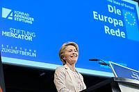 08 NOV 2019, BERLIN/GERMANY:<br /> Ursula von der Leyen, gewaehlte EU-Kommissionspräsidentin, haelt Die Europa Rede, eine jaehrlich wiederkehrende Stellungnahme der hoechsten Repraesentanten der Europaeischen Union zur Idee und zur Lage Europas, organisiert von der Konrad-Adenauer-Stiftung, der Stiftung Zukunft Berlin und der Stiftung Mercator, Allianz Forum<br /> IMAGE: 20191108-01