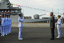 May 5, 2017 - Singapore's Prime Minister Lee Hsien Loong (2nd R) attends the commissioning ceremony held in Singapore's Changi Naval Base. The Republic of Singapore Navy (RSN) held a commissioning ceremony for its very first littoral mission vessel ''Independence'' at the Changi Naval Base on Friday. (Credit Image: © Then Chih Wey/Xinhua via ZUMA Wire)