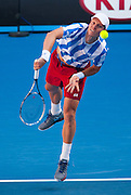 When Thomas Berdych (CZE) began playing third seeded D. Ferrer in the late, golden afternoon light with deep, dark shadows, ha hadn't had a single win on the Rod Laver Arena center court. When the match finished, he's beaten Ferrer 6-1, 6-4, 2-6, 6-4. Berdych now advances to the semifinals.