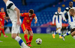 CARDIFF, WALES - Wednesday, November 18, 2020: Wales' Daniel James scores the second goal during the UEFA Nations League Group Stage League B Group 4 match between Wales and Finland at the Cardiff City Stadium. Wales won 3-1 and finished top of Group 4, winning promotion to League A. (Pic by David Rawcliffe/Propaganda)