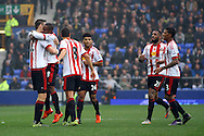 Jermain Defoe of Sunderland (8) celebrates with his teammates after scoring his teams 1st goal. Barclays Premier League match, Everton v Sunderland at Goodison Park in Liverpool on Sunday 1st November 2015.<br /> pic by Chris Stading, Andrew Orchard sports photography.