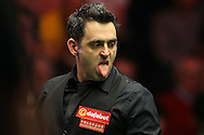 Ronnie O'Sullivan (Eng) reacts. Ronnie O'Sullivan (Eng) v Joe Perry (Eng), the Masters Final at the Dafabet Masters Snooker 2017, at Alexandra Palace in London on Sunday 22nd January 2017.<br /> pic by John Patrick Fletcher, Andrew Orchard sports photography.